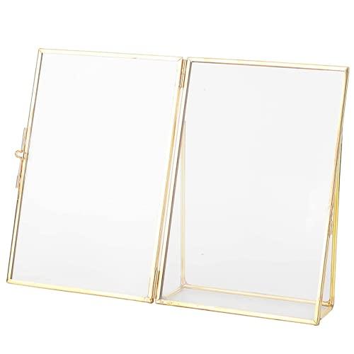 Wifehelper Fotorahmen, Messing Retro Glas Metall Desktop Fotorahmen Halterung Kupferstreifen Metall Fotorahmen(10.2x15.3cm)