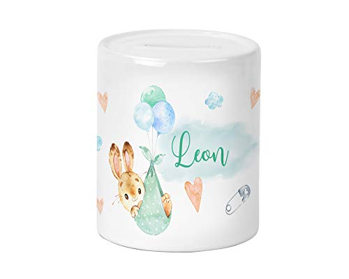 Yuweli Baby Hase Kinder-Spardose für Jungen und Mädchen mit Namen personalisiert zur Einschulung Taufe Geburtstag Geburt Sparschwein Geldgeschenk