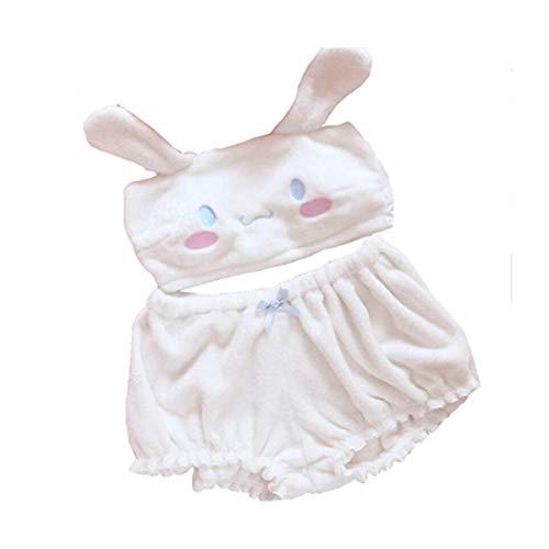 My Melody Cosplay Costume Bra Plush Pajamas Kawaii Anime Cute Pajamas Set for Girls Women (white, S)