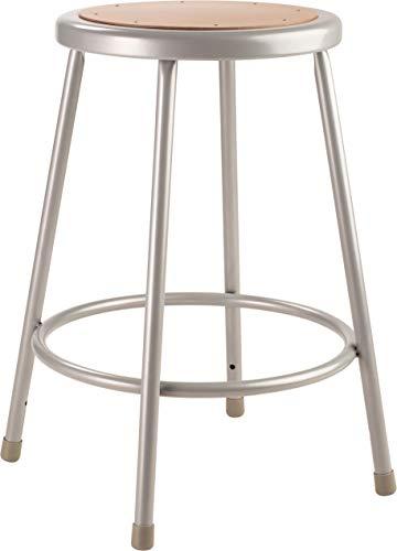 National Public Seating 24' High Heavy Duty Steel Stool, Grey