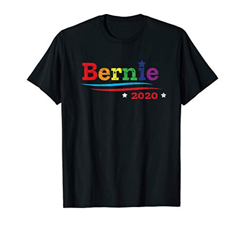 Bernie Sanders for President 2020 Distressed LGBTQ Rainbow T-Shirt