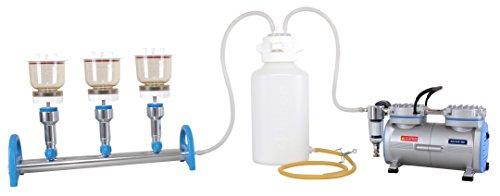 Vakuumfiltrationsset komplett mit Rocker-Laborpumpe, Verteiler MultiVac 310-MS (3 Stellen) und 3x magnetische PES-Filterhaltersets 300ml Ø47mm