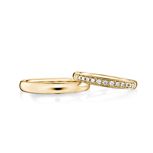 AmDxD 2 Stücke 18K Gelbgold Ringe Für Paare Elegant Design mit Diamant 0.11ct Partnerringe Goldringe Diamantring Gold - Damen Gr.57 (18.1) & Herren Gr.62 (19.7)