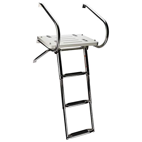 YaeMarine 3 Step Swim Platform with Extra Wide Steps TOP Mount Boarding Ladder for Inboard/Outboard Motor on Boat and Yacht