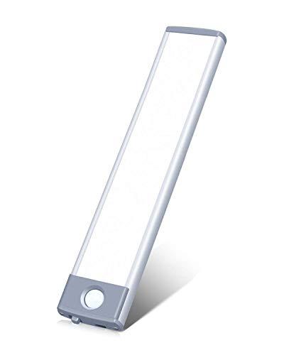 Luz de gabinete 30 LED Sensor de movimiento Iluminación para armario funciona con batería, recargable ultra delgada 180lm iluminación de gabinete (blanco, 1 paquete)