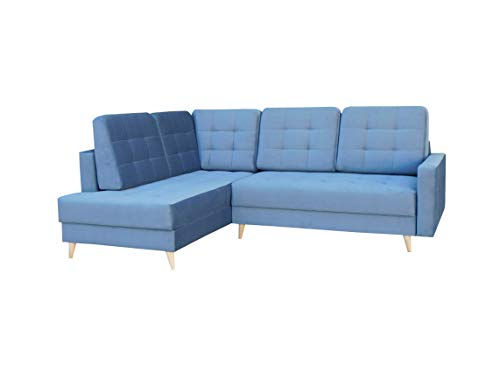 Ecksofa mit Schlaffunktion mit Bettkasten Sofa Couch L-Form Polstergarnitur Wohnlandschaft Polstersofa mit Ottomane Couchgranitur - LESLO II (Blau, Ecksofa Links)