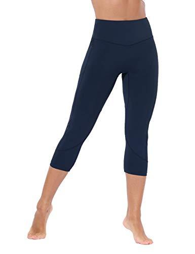 BALEAF Women's Stretchy Yoga Capri High Waist Squat Proof Cropped Leggings Training Pants Navy Size M