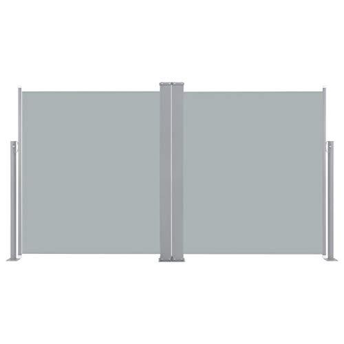 Festnight Paravent Solide Brise-Vue Double rétractable de Patio 170x600cm Anthracite