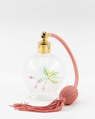 Martinoli Pulvérisateur pour parfum en cristal de Bohemia avec broderie floral rose, blanc mat – 400 g