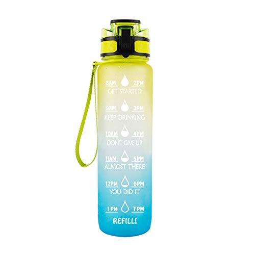 H87yC4ra Botella de agua de color degradado de 1 litro de gran capacidad con pajita motivacional con marcador de tiempo, botella deportiva amarilla