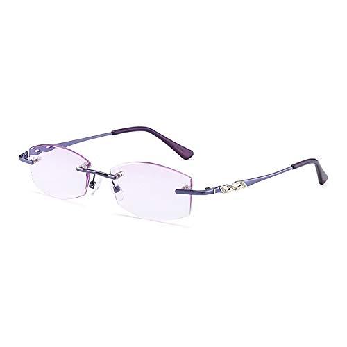 SHANGYA Gafas de Lectura, 2.00, Gafas presbiliarias Mujeres sin Montura Rhinestone Recortada Púrpura, Anti Fatiga y Ray Ray, Dolor de Cabeza Protección