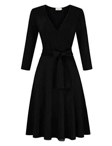 Clearlove Damen Kleider Elegant Cocktailkleid Ärmellos V-Ausschnitt Vintage Abendkleid(Verpackung MEHRWEG), Schwarz1-3/4 Ärmel, L