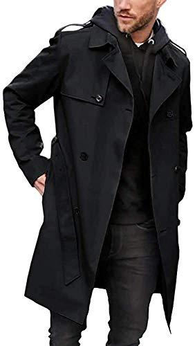 Men's Trench Coat Slim fit Long Lapel Double Breasted Belted Windbreaker Jacket Windproof Button Overcoat