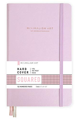 """Minimalism Art, Premium Hard Cover Notebook Journal, Squared Grid Page, 122NumberedPages, GussetedPocket, Ribbon Bookmark, Extra Thick Ink-ProofPaper120gsm, Classic 5"""" x 8.3"""" (Small, Pink)"""