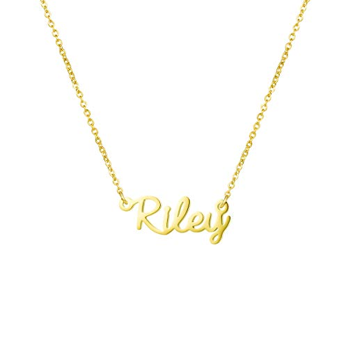 Personalized Name Necklace 18K Gold Plated New Mom Bridesmaid Gift Jewelry for Women (Riley)