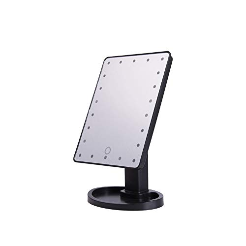 Drawihi Miroir De Maquillage Grossissant Lumineux Miroir De Table Miroir De Voyage avec Lumières LED Dimmable (Noir)
