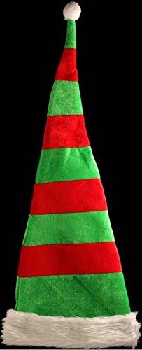 Extra lungo lungo Elfo Rosso Verde a Strisce a Righe Cappello Costume Festa di Natale con Ferretto Regalo (Aiutante di Babbo Natale Cappello)
