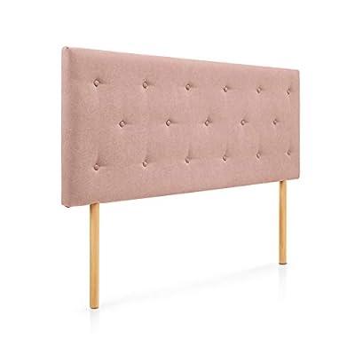 Cabecero tapizado acolchado para dormitorios con estructura en madera de pino Cabecero de cama acolchado con espumación HR Cabecero tapizado en tela antimanchas Para camas de 90 (100 x 100 cm) tela salmón