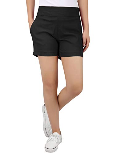 HDE Chino Shorts for Women 4' Inseam Elastic High Waisted Casual Summer Shorts Black