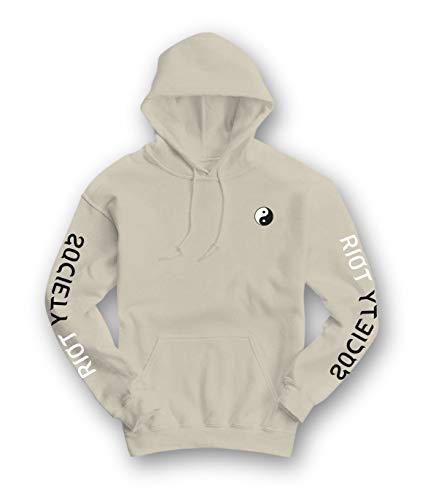 Riot Society Yin Yang Embroidered Mens Hoodie - Sand, XX-Large
