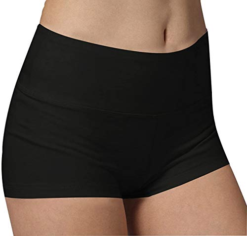 iloveSIA Shorts Damen kurz Schwarz Frauen Blickdicht Sport-Fitness Shorts Slim fit Shorty, M