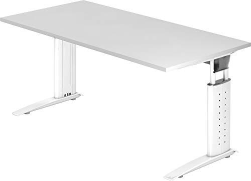 bümö® Schreibtisch höhenverstellbar 68-86 cm | Bürotisch mit Gestell in weiß | höhenverstellbarer Büroschreibtisch | Tisch für's Büro & PC in Top Qualität - Büromöbel (Rechteck: 160 x 80 cm, Weiß)