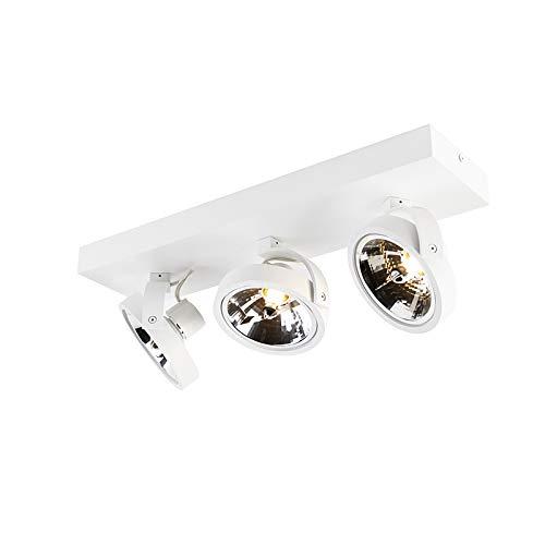 QAZQA - Design Spot   Spotlight   Deckenspot   Deckenstrahler   Strahler   Lampe   Leuchte weiß verstellbar 3-flammig Spotbalken-flammig inkl. LED - Go   Wohnzimmer   Schlafzimmer   Küche - Aluminium