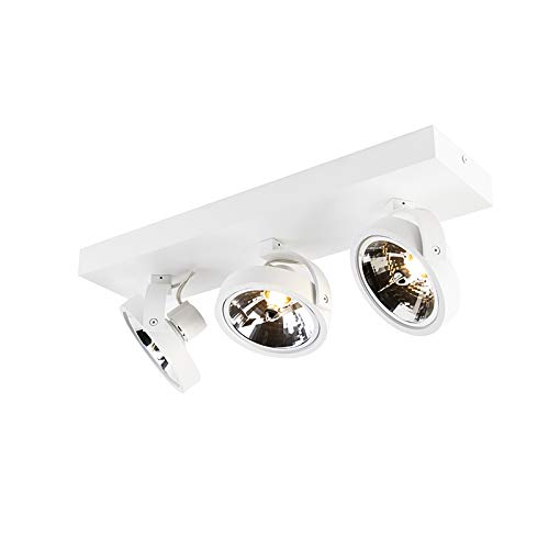 QAZQA Diseño Plafón diseño blanco orientable 3-luces LED - GO Aluminio Redonda/Rectangular/Alargada...