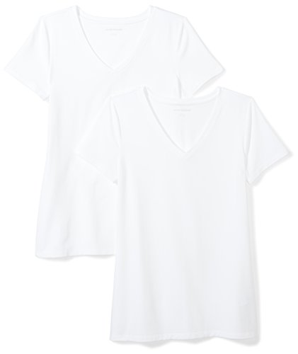 Amazon Essentials Damen-T-Shirt, klassisch, kurzärmlig, V-Ausschnitt, 2er-Pack, white, Medium