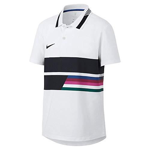 Nike Jungen RF B NKCT ADV Classic Polo Shirt, White/Blue Void/Black, L