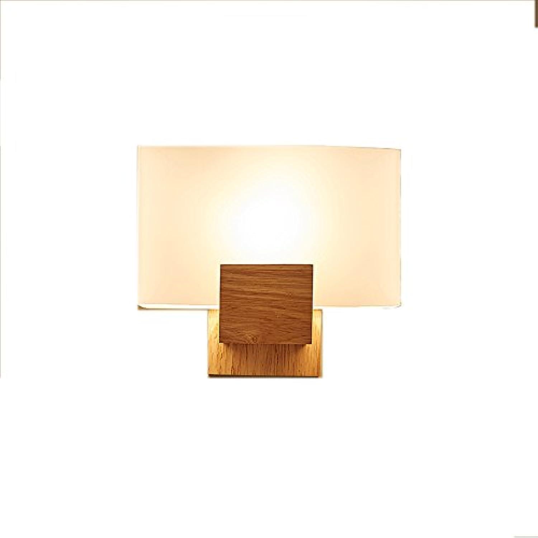NSHUN American Modern Minimalistische LED Massivholz Glas Wandleuchte Kreative Schlafzimmer Wohnzimmer Balkon Korridor Hotel Studie Einzelkopf Wandleuchte E27 Lichtquelle Wand Laterne