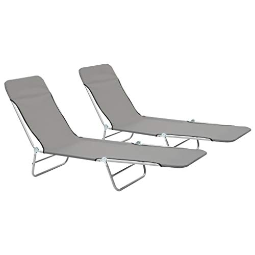 vidaXL 2x Foldable Sunloungers Grey Outdoor Garden Camping Recliner Daybed