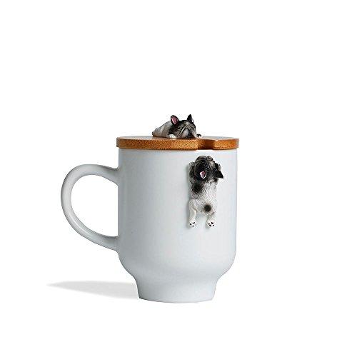 Frenchie bulldogs Mug with Funny Bulldog Bamboo Lid, Ceramic 3D Cute French Bulldog Figurie Tea Milk Cup Frenchie Gifts Mug(12oz,350ML) (White, French Bulldog)