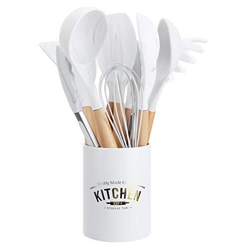 Kit utensili da cucina in silicone per uso domestico, 12 pezzi utensili da cucina in silicone antiaderente manico in legno strumento da cucina bianco