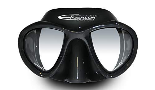 EPSEALON E.visio 2 - Máscara de buceo para caza submarina - Campo de visión amplio - Silicona hipoalergénica + cierre de policarbonato - Hebillas de ajuste rápido - Negro - 300 g