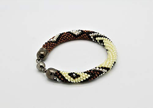 Häkelarmband, Schlaucharmband, gehäkeltes Glasperlenarmband, Armband aus Rocailles, braun beige