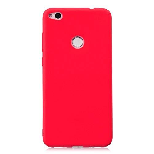 cuzz Protector Funda Huawei P8 Lite 2017,con [Protector Pantalla Completa],360 Grados Delgada Flexible con Antichoque Silicona Suave Shell-Rojo