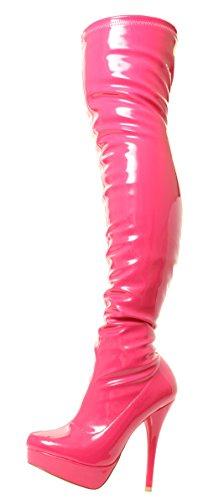 DOK136 Frauen Stilett über das Knie Strecken breite Passform Schwarze Overknee Stiefel Schuhe Größe 36 37 38 39 40 41 (39, Rosa Glänzend)