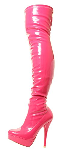 DOK136 Frauen Stilett über das Knie Strecken breite Passform Schwarze Overknee Stiefel Schuhe Größe 36 37 38 39 40 41 (38, Rosa Glänzend)
