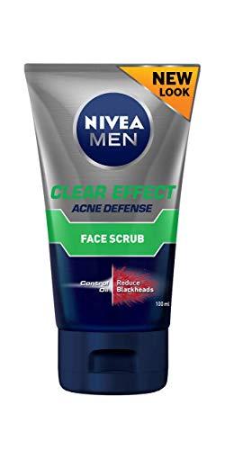 NIVEA Men Clear Effect Oil Control & Anti-Blackhead Facial Scrub, Formulated with Multi-Action 8 to Combat Oil & Prevent Blackheads, 100ml