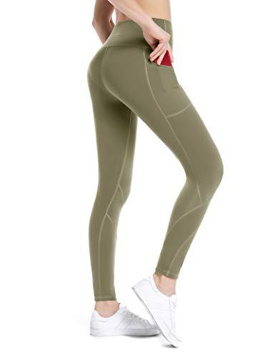 ALONG FIT Leggings Damen mit Taschen, Nicht durchsichtig Sporthose Damen Dehnbar Yogahosen für Damen, Hoch Tailliert-oliver Grün, L