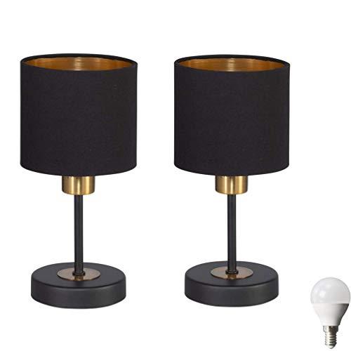 2er Set LED Nachttischlampe, LED Tischlampe Tischleuchte Stoffschirm (Schwarz / Gold) für Schlafzimmer, Fensterbank, Wohnzimmer, Arbeitszimmer, Beistelltisch incl. 3W LED