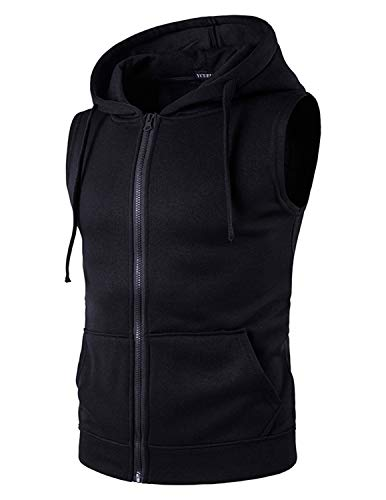 YCUEUST Hombre Sudaderas con Capucha Sin Mangas Camiseta Casual Chalecos Deportivos Negro x-Large