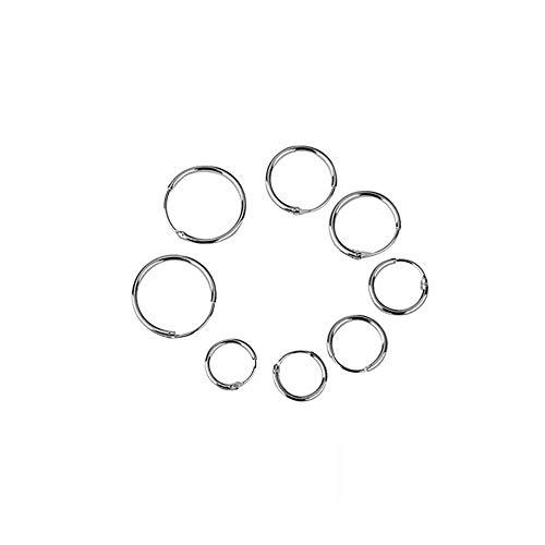 4 pares de pendientes de aro de plata de ley 925 sin fin para dormir de oreja, hélice de aro y para dormir (OD: 8, 10, 12, 14 mm)