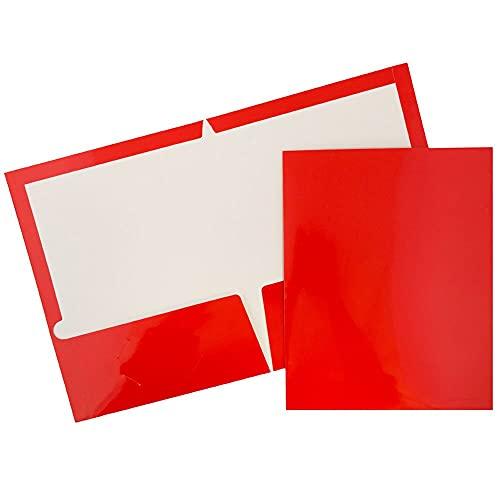 JAM PAPER Laminated Two Pocket Glossy School Folders - Letter Size - High Gloss Red - Bulk 25/Pack