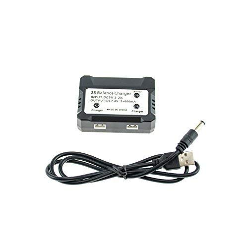 efaso - Caricabatterie doppio da 7,4 V con cavo USB, caricatore con bilanciatore per due batterie – adatto per diversi modelli RC – ad esempio X101, X600, F45, F49, WLToys 12428, A959