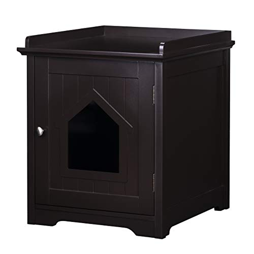 PAWLAND Cat Litter Box Enclosure, Cat House Side Table,Night Stand Pet House, Indoor Cat House, Espresso