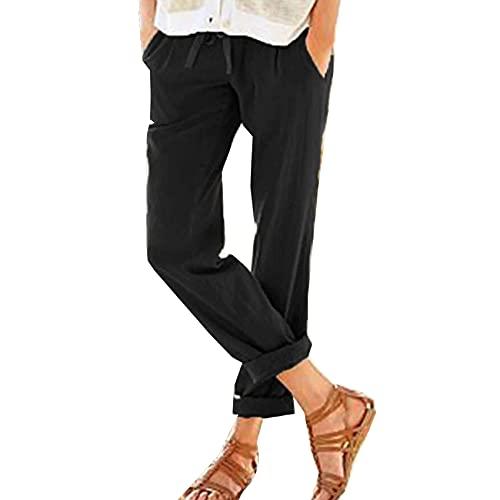 Moda Casual Y CóModa De Color SóLido De AlgodóN Y Lino con CordóN Suelto Casual Cintura EláStica Pantalones De Pierna Ancha