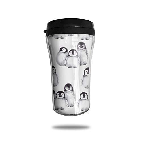 Taza de café de viaje con forma de pingüino del Polo Norte, taza de vacío portátil con impresión delicada, taza con aislamiento ABS de grado alimenticio, antiderrame