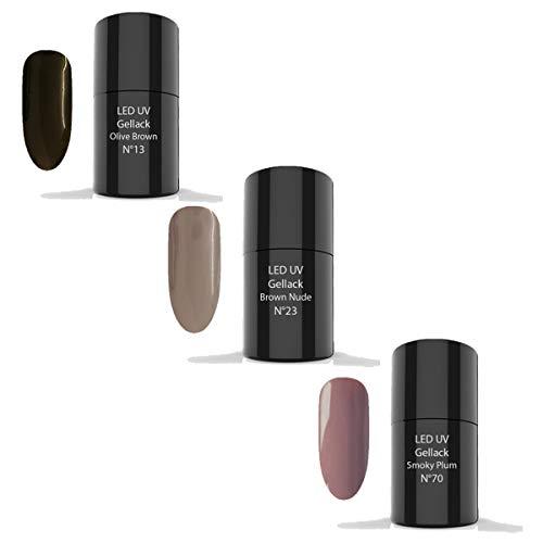 LED UV Gellack Set 3 x 6ml - UV Nagellack, UV Lack, Gellack (SET 21-1x N°13 Olive Brown 6ml, 1x...